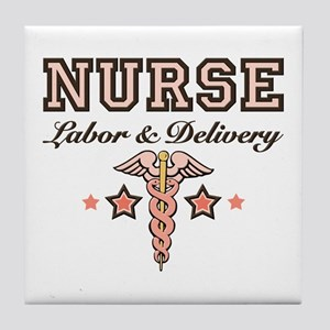 Labor & Delivery Nurse Caduceus Tile Coaster