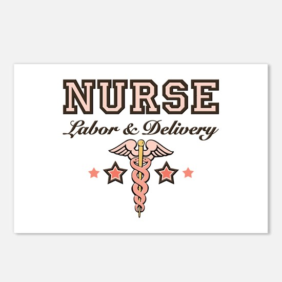 Labor & Delivery Nurse Caduceus Postcards 8 Pa