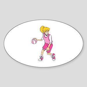 Basketball Girl Oval Sticker