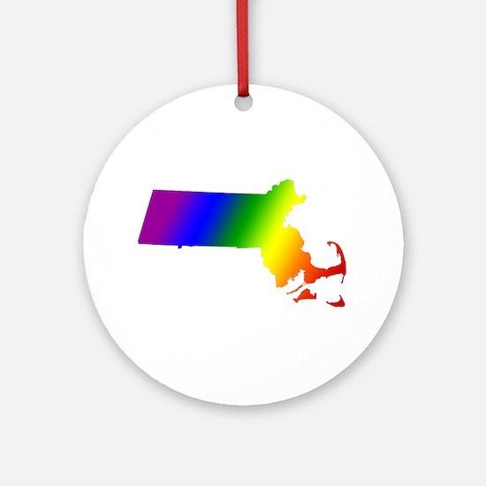 Massachusetts Gay Pride Ornament (Round)