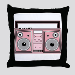 Pink Boom Box Throw Pillow