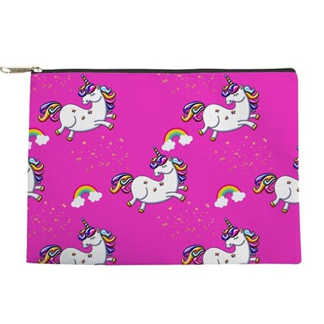 Pink Unicorns and Rainbows Makeup Bag