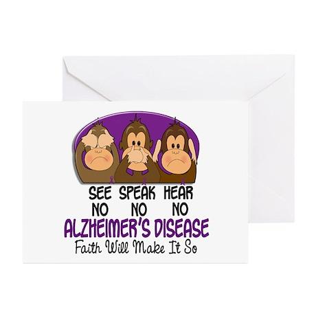 See Speak Hear No Alzheimers 1 Greeting Cards (Pk