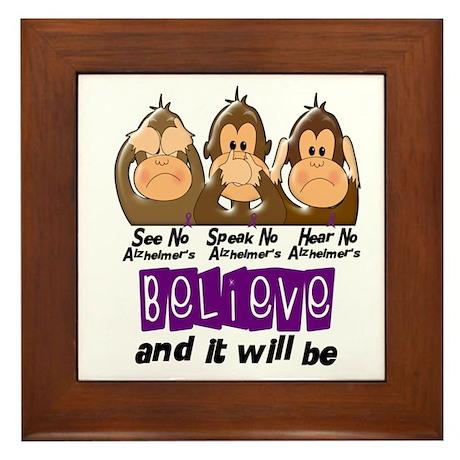 See Speak Hear No Alzheimers 3 Framed Tile