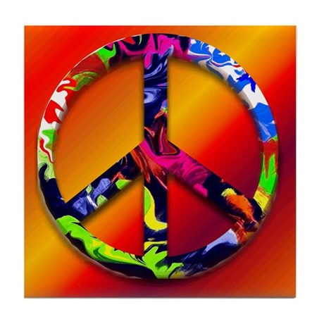 Freedom Peace Symbol Tile Coaster