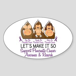 See Speak Hear No Pancreatic Cancer 2 Sticker (Ova