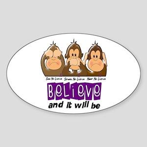 See Speak Hear No Lupus 3 Oval Sticker