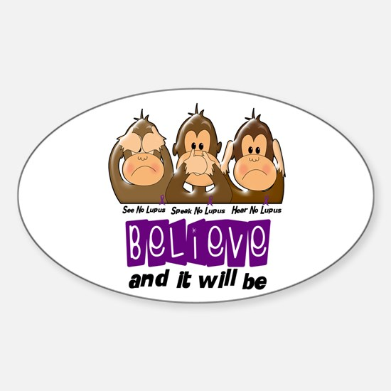 See Speak Hear No Lupus 3 Oval Decal