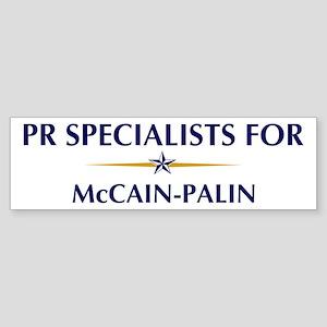 PR SPECIALISTS for McCain-Pal Bumper Sticker