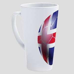Iceland Soccer Ball 17 oz Latte Mug