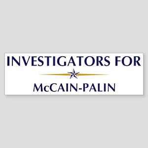 INVESTIGATORS for McCain-Pali Bumper Sticker
