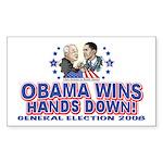 Obama Arm Wrestles McSame Rectangle Sticker 10 pk