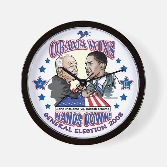 Obama Arm Wrestles McSame Wall Clock
