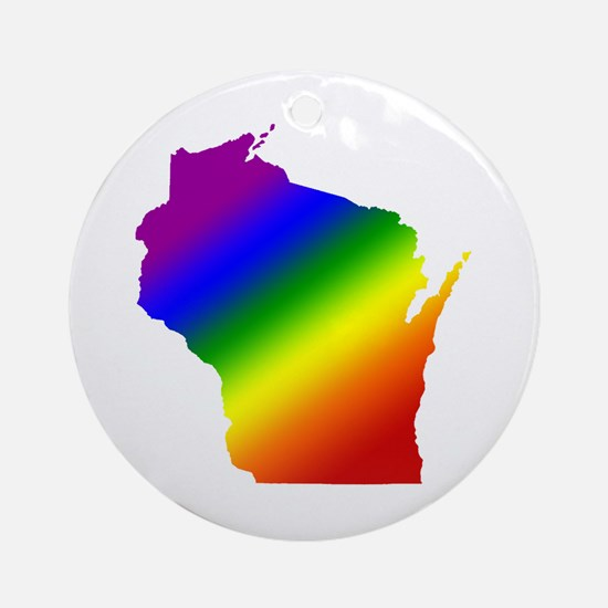 Wisconsin Gay Pride Ornament (Round)