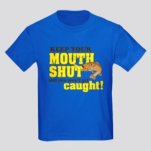 Keep Your Mouth Shut (Fishing) Kids Dark T-Shirt