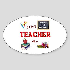 Teachers Do It With Class Sticker (Oval)