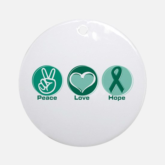 Peace Love Green Hope Ornament (Round)