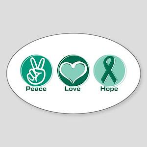 Peace Love Gr Hope Sticker (Oval)