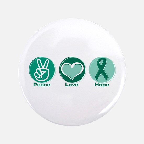 "Peace Love Green Hope 3.5"" Button"