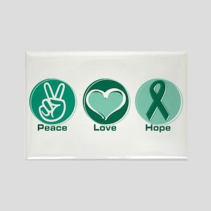 Peace Love Gr Hope Rectangle Magnet