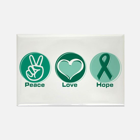 Peace Love Green Hope Rectangle Magnet