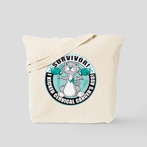 Cervical Cancer Survivor: Boxing Cat Tote Bag