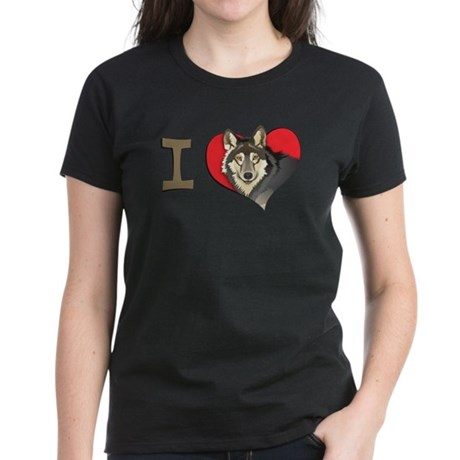 I heart wolves Women's Dark T-Shirt