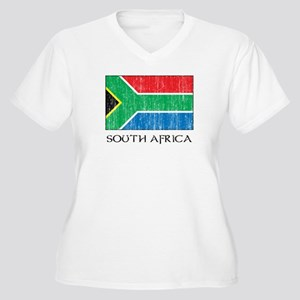 South Africa Flag Women's Plus Size V-Neck T-Shirt