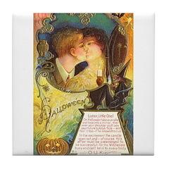 Romantic Halloween Tile Coaster