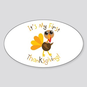 My First Thanksgiving Oval Sticker