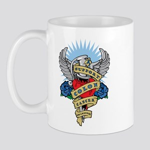 Colon Cancer Heart & Dagger Mug
