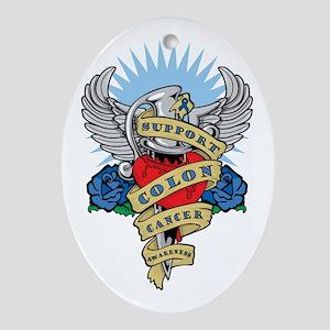 Colon Cancer Heart & Dagger Oval Ornament