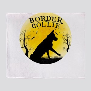 Border Collie Halloween Design Vinta Throw Blanket