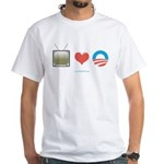 The Media Loves Barack White T-Shirt