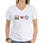 The Media Loves Barack Women's V-Neck T-Shirt