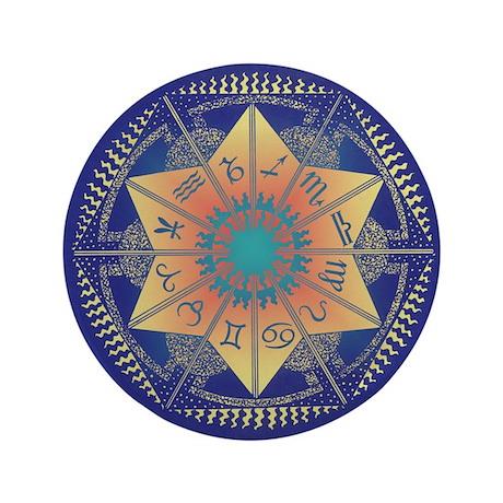 """Zodiac Mandala 3.5"""" Button"""