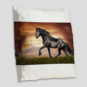 Beautiful Black Horse Burlap Throw Pillow