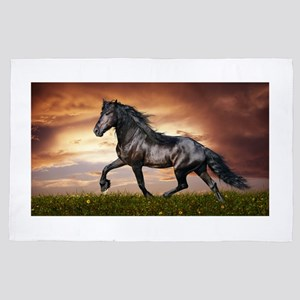 Beautiful Black Horse 4' x 6' Rug