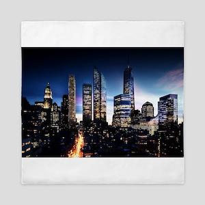City Skyline at Night Queen Duvet