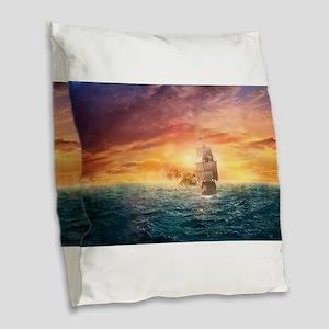 Pirate ship Burlap Throw Pillow