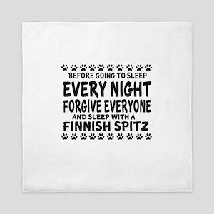 Sleep With Finnish Spitz Dog Queen Duvet