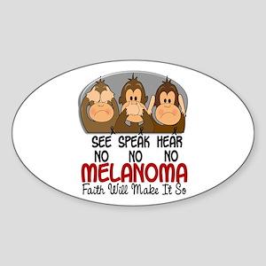 See Speak Hear No Melanoma 1 Oval Sticker