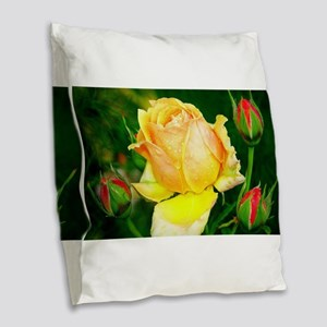 Beautiful Yellow and Red Roses Burlap Throw Pillow