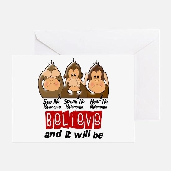 See Speak Hear No Melanoma 3 Greeting Card