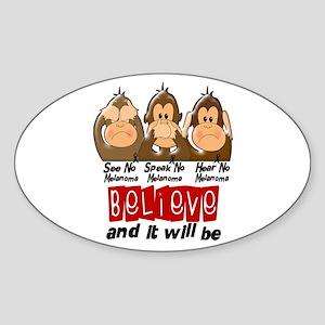 See Speak Hear No Melanoma 3 Oval Sticker