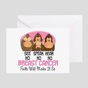 See Speak Hear No Breast Cancer 1 Greeting Card
