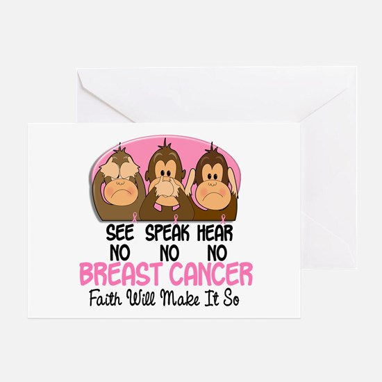 See Speak Hear No Breast Cancer 1 Greeting Card