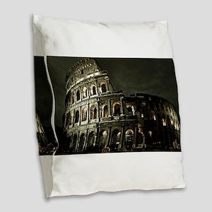 Coliseum At Night Burlap Throw Pillow