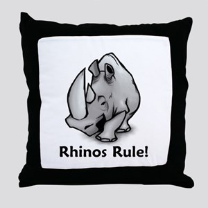 Rhinos Rule! Throw Pillow