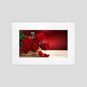 Superb Red Roses 4' x 6' Rug